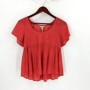 Lucky Brand Coral Pink Hi Low Peasant Top